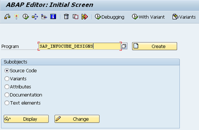 ABAP program SAP_INFOCUBE_DESIGNS