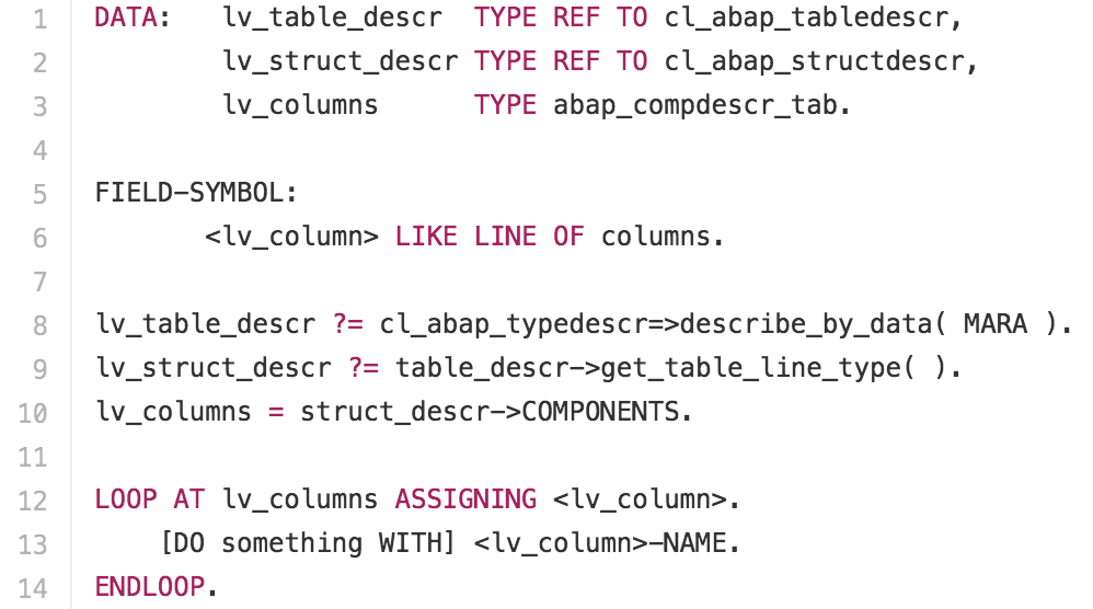 Loop over table columns dynamically