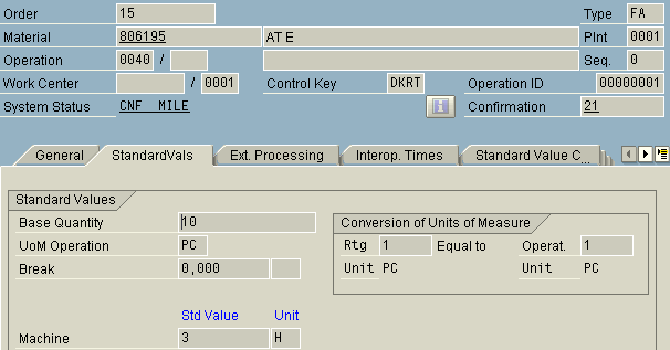 Standard values of a operation for a specific production order